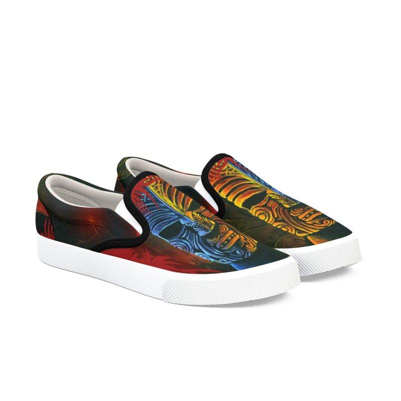 Lava Falls - Maori Tiki Men's Slip-On Shoes by Zero Street's Artist Shop