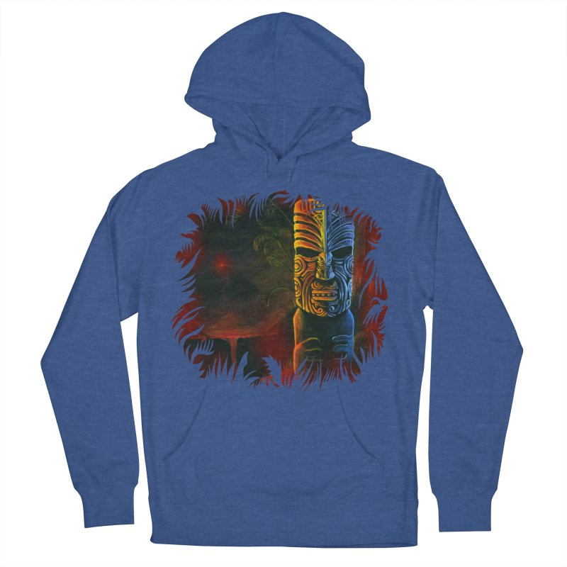 Lava Falls - Maori Tiki Men's French Terry Pullover Hoody by Zerostreet's Artist Shop