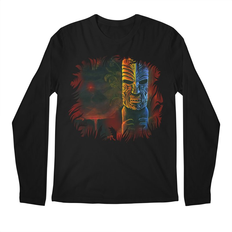 Lava Falls - Maori Tiki Men's Regular Longsleeve T-Shirt by Zerostreet's Artist Shop