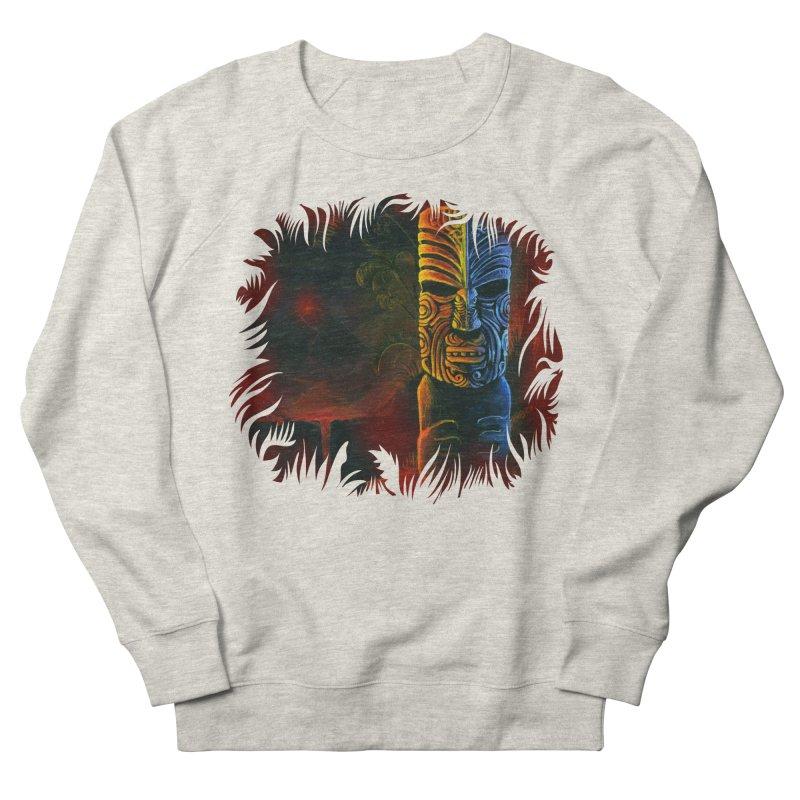 Lava Falls - Maori Tiki Men's French Terry Sweatshirt by Zerostreet's Artist Shop