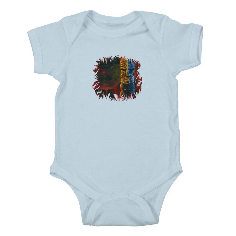 Lava Falls - Maori Tiki Kids Baby Bodysuit by Zerostreet's Artist Shop
