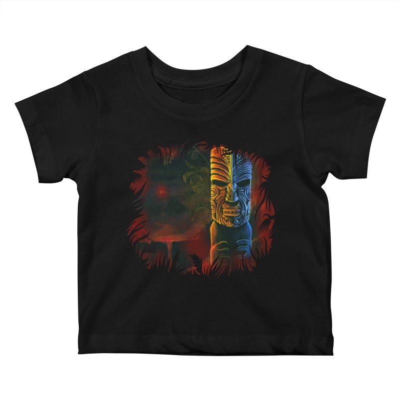 Lava Falls - Maori Tiki Kids Baby T-Shirt by Zerostreet's Artist Shop