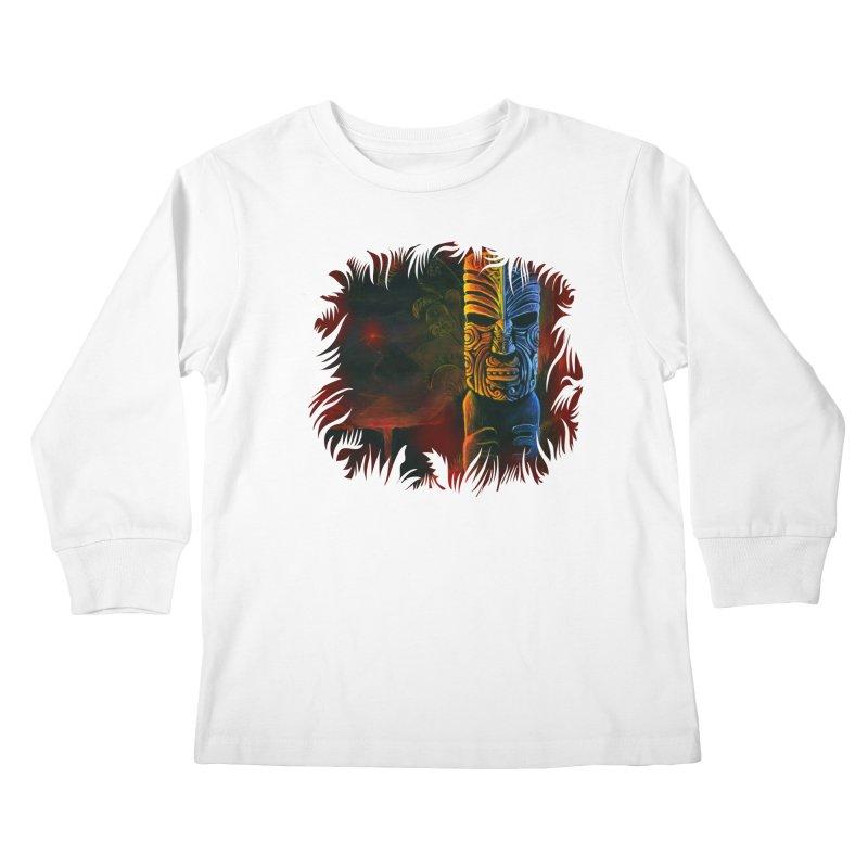 Lava Falls - Maori Tiki Kids Longsleeve T-Shirt by Zerostreet's Artist Shop
