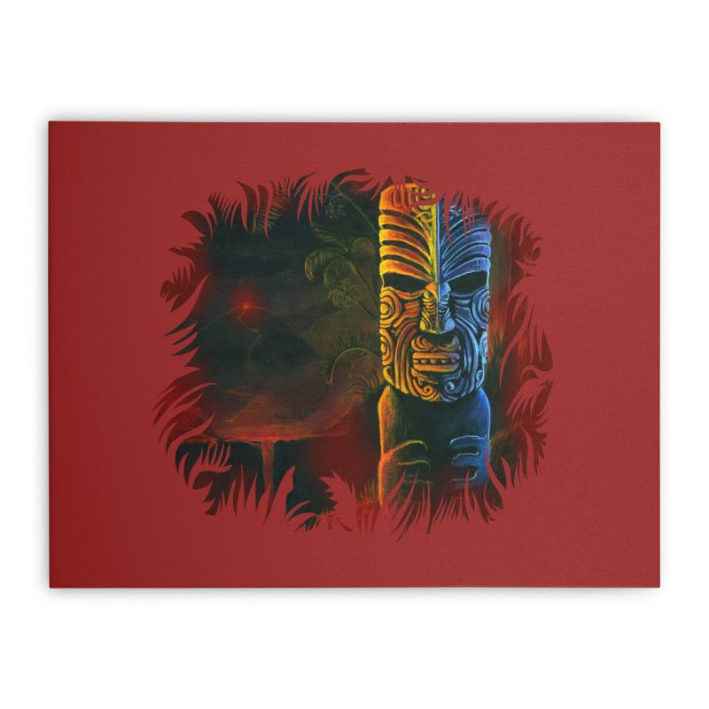 Lava Falls - Maori Tiki Home Stretched Canvas by Zerostreet's Artist Shop