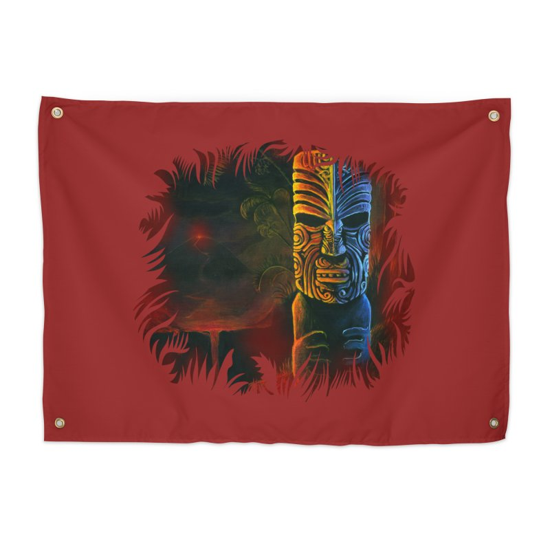 Lava Falls - Maori Tiki Home Tapestry by Zerostreet's Artist Shop