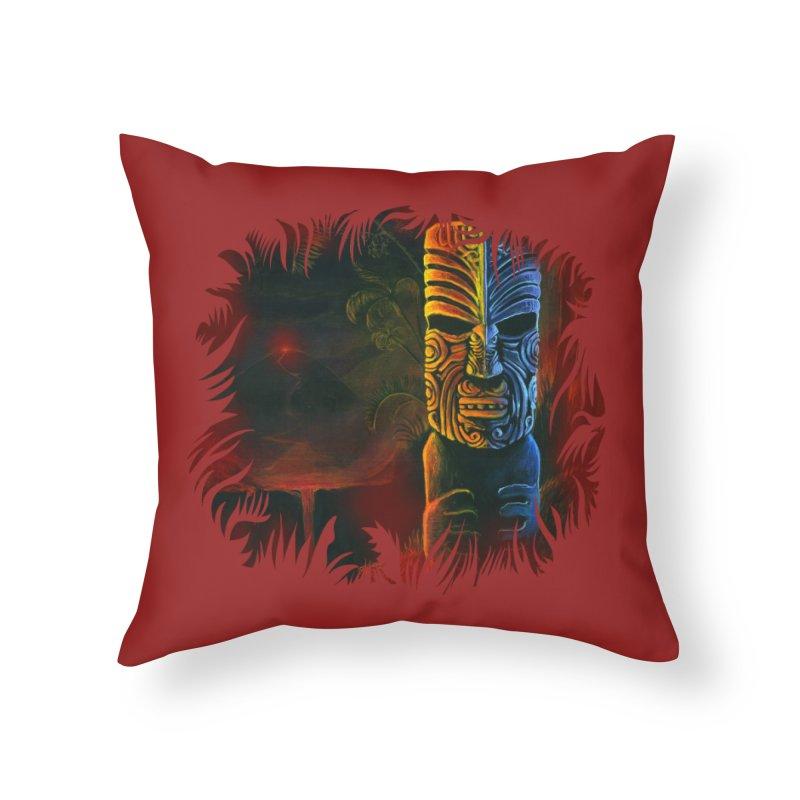 Lava Falls - Maori Tiki Home Throw Pillow by Zerostreet's Artist Shop