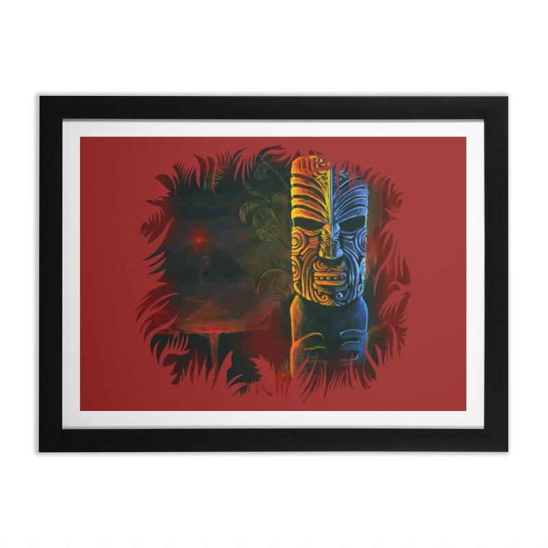 Lava Falls - Maori Tiki Home Framed Fine Art Print by Zerostreet's Artist Shop
