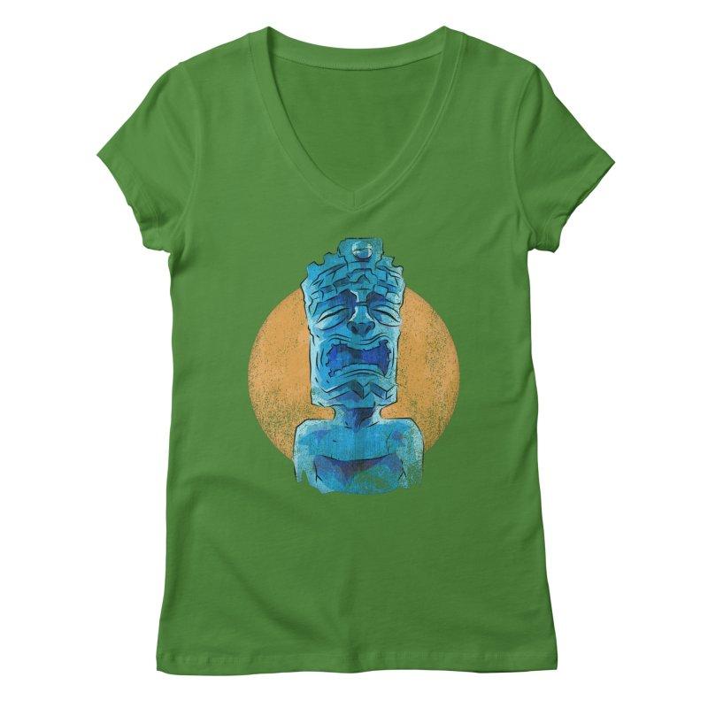 Luna Tiki Women's Regular V-Neck by Zerostreet's Artist Shop