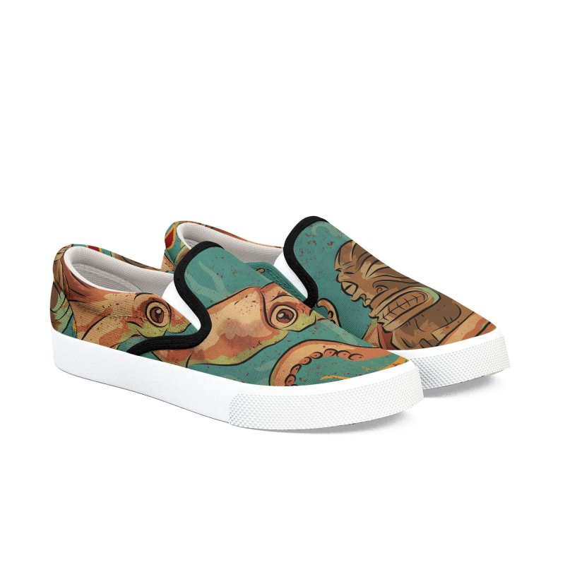 Squid & Tiki Women's Slip-On Shoes by Zerostreet's Artist Shop