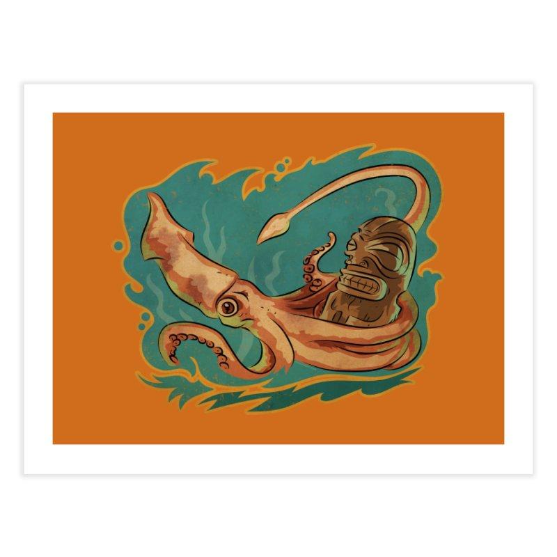 Squid & Tiki Home Fine Art Print by Zero Street's Artist Shop