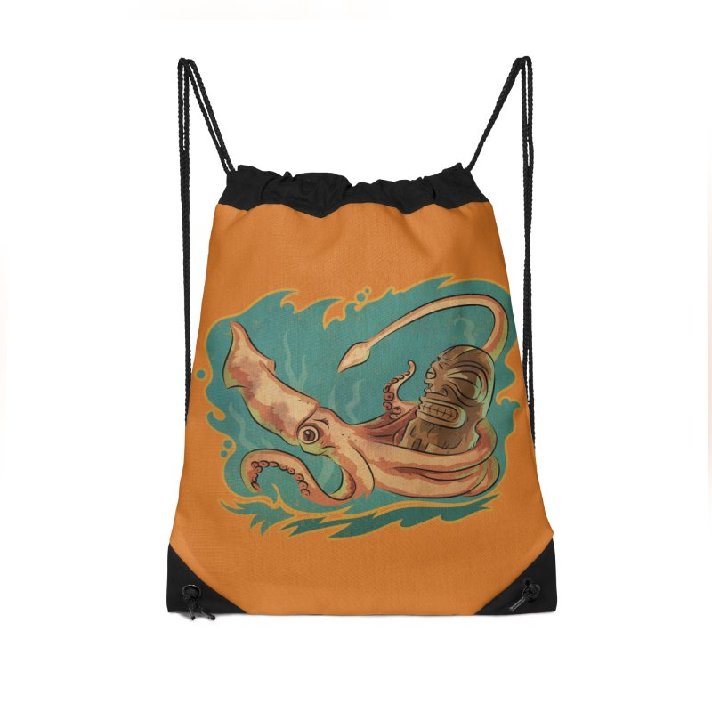 Squid & Tiki Accessories Drawstring Bag Bag by Zero Street's Artist Shop