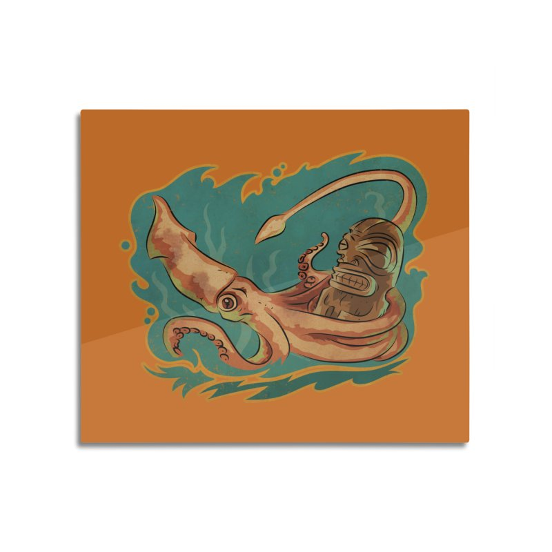 Squid & Tiki Home Mounted Aluminum Print by Zero Street's Artist Shop