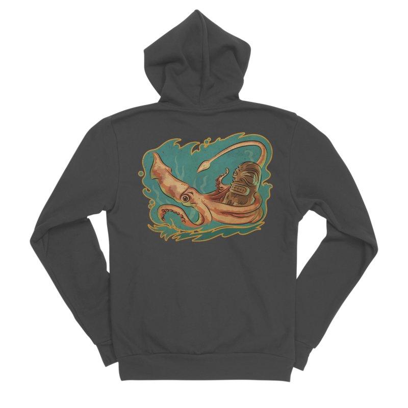 Squid & Tiki Men's Sponge Fleece Zip-Up Hoody by Zerostreet's Artist Shop