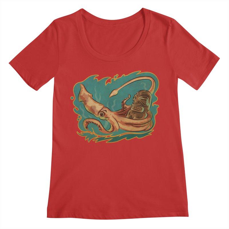 Squid & Tiki Women's Regular Scoop Neck by Zerostreet's Artist Shop
