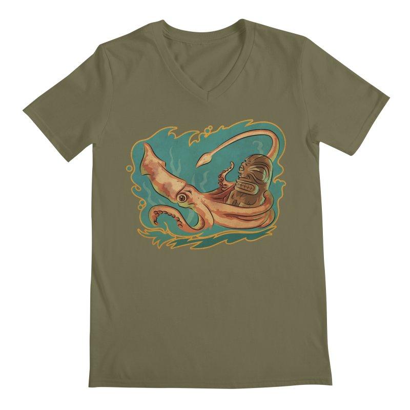 Squid & Tiki Men's Regular V-Neck by Zerostreet's Artist Shop