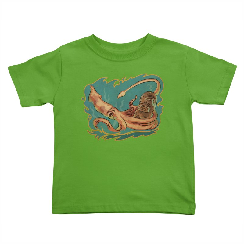 Squid & Tiki Kids Toddler T-Shirt by Zerostreet's Artist Shop