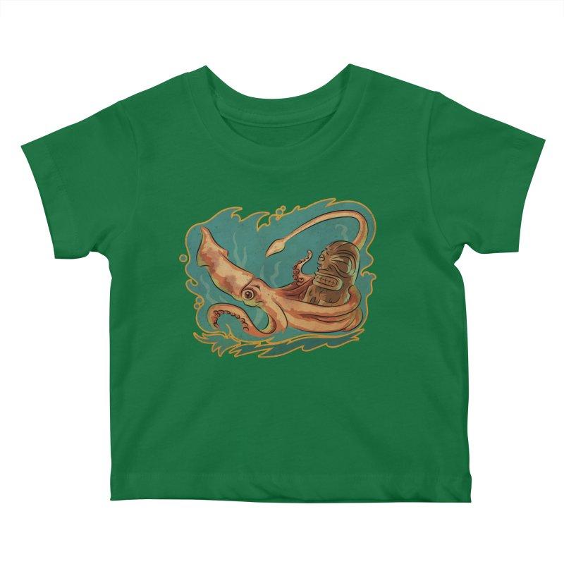 Squid & Tiki Kids Baby T-Shirt by Zerostreet's Artist Shop