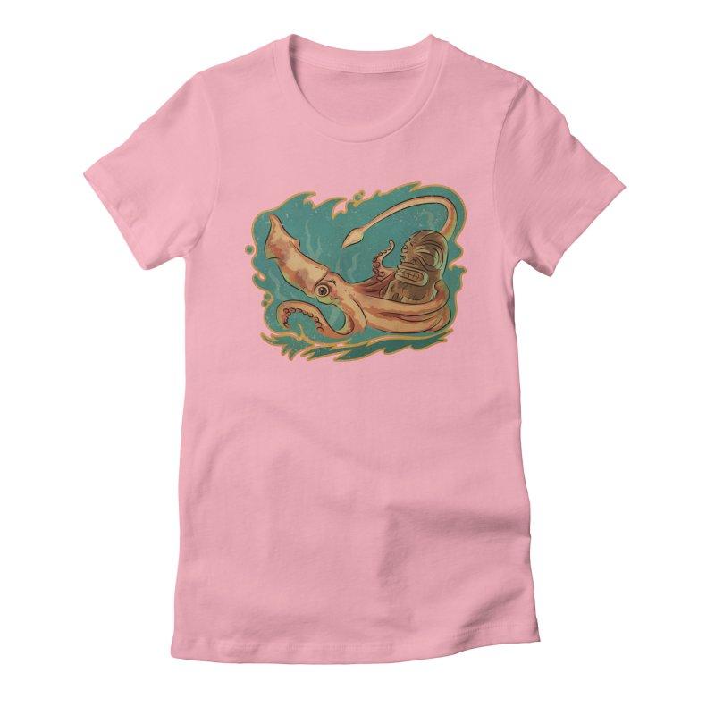 Squid & Tiki Women's Fitted T-Shirt by Zerostreet's Artist Shop