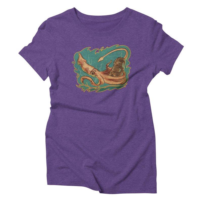 Squid & Tiki Women's Triblend T-Shirt by Zerostreet's Artist Shop