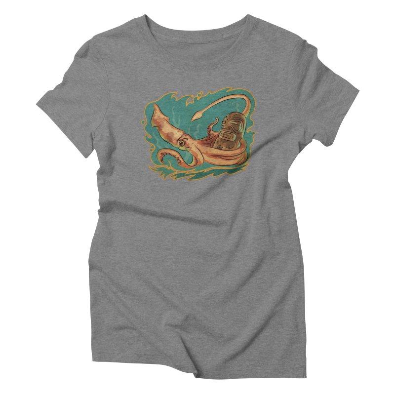 Squid & Tiki Women's Triblend T-Shirt by Zero Street's Artist Shop