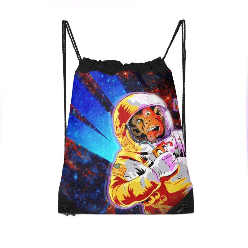 SPACE CHIMP Accessories Drawstring Bag Bag by Zero Street's Artist Shop
