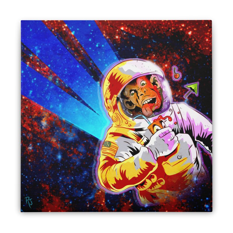 SPACE CHIMP Home Stretched Canvas by Zerostreet's Artist Shop