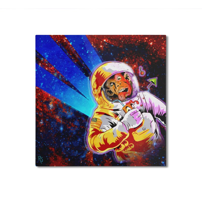 SPACE CHIMP Home Mounted Aluminum Print by Zero Street's Artist Shop