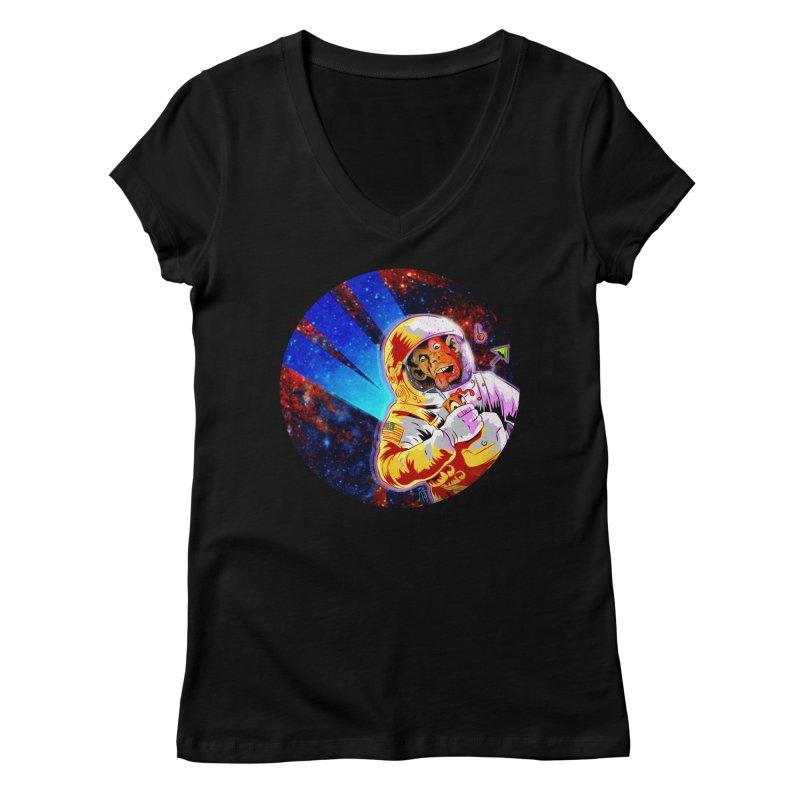 SPACE CHIMP Women's Regular V-Neck by Zero Street's Artist Shop