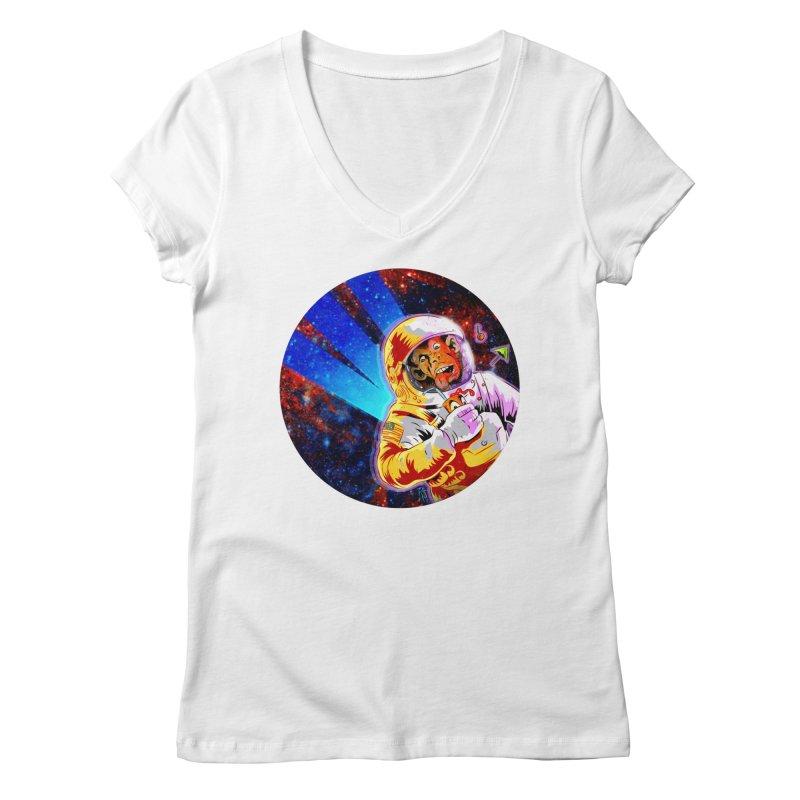 SPACE CHIMP Women's Regular V-Neck by Zerostreet's Artist Shop