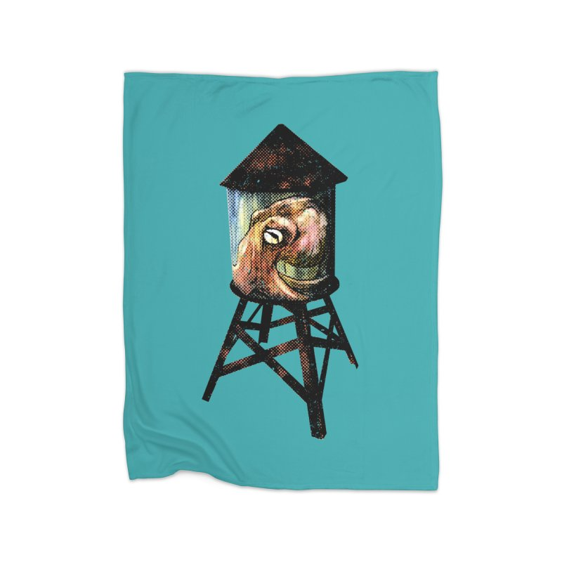 Octopus Water Tower Home Fleece Blanket Blanket by Zerostreet's Artist Shop