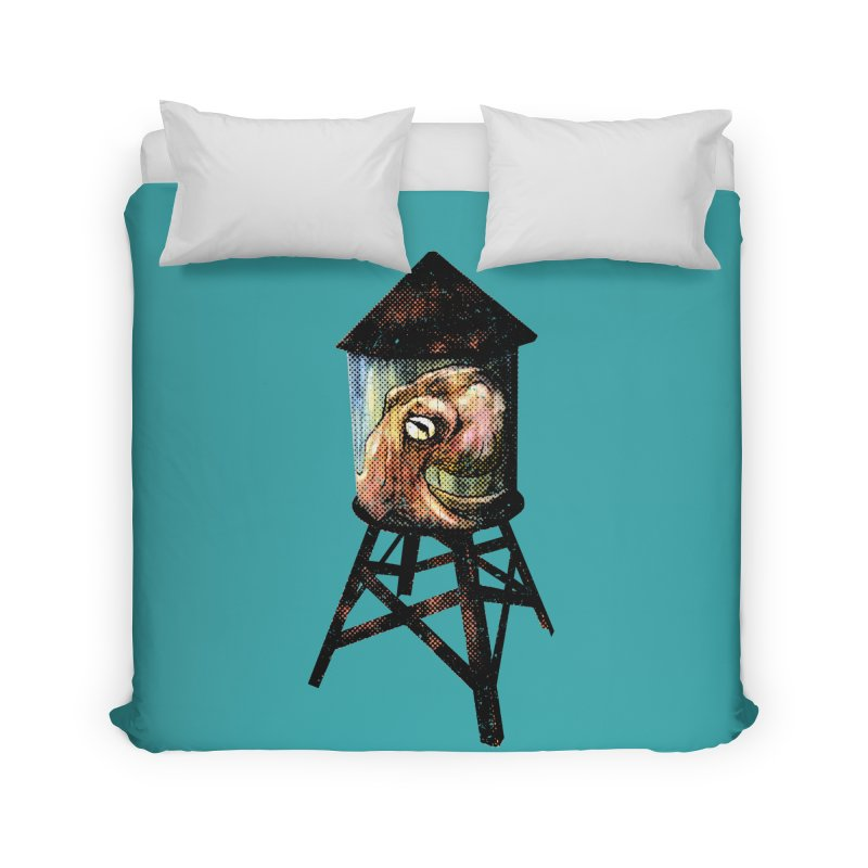 Octopus Water Tower Home Duvet by Zero Street's Artist Shop