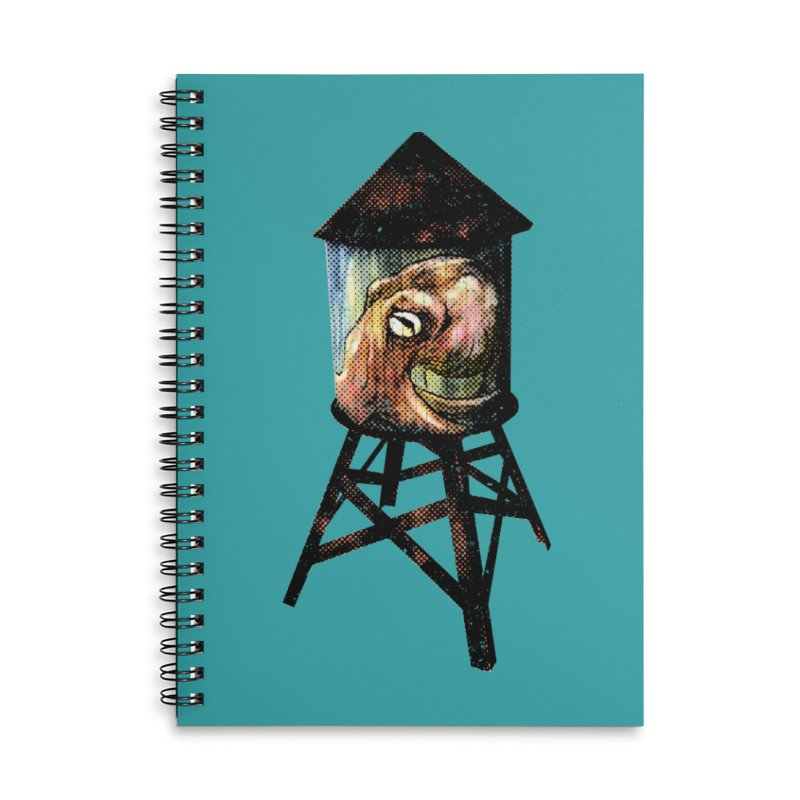 Octopus Water Tower Accessories Lined Spiral Notebook by Zerostreet's Artist Shop