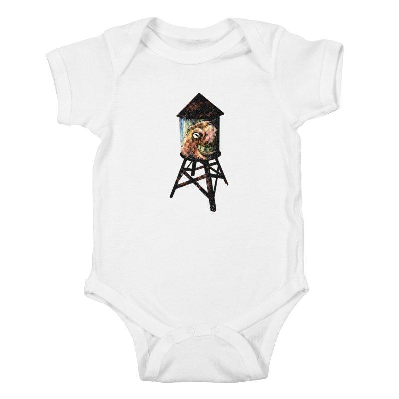 Octopus Water Tower Kids Baby Bodysuit by Zerostreet's Artist Shop