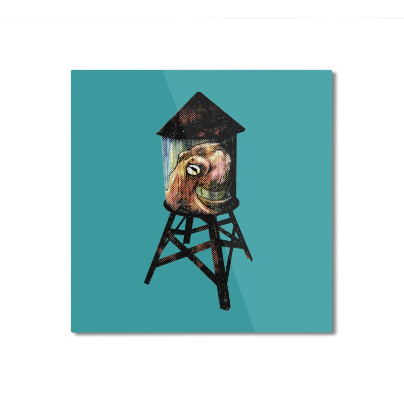 Octopus Water Tower Home Mounted Aluminum Print by Zero Street's Artist Shop