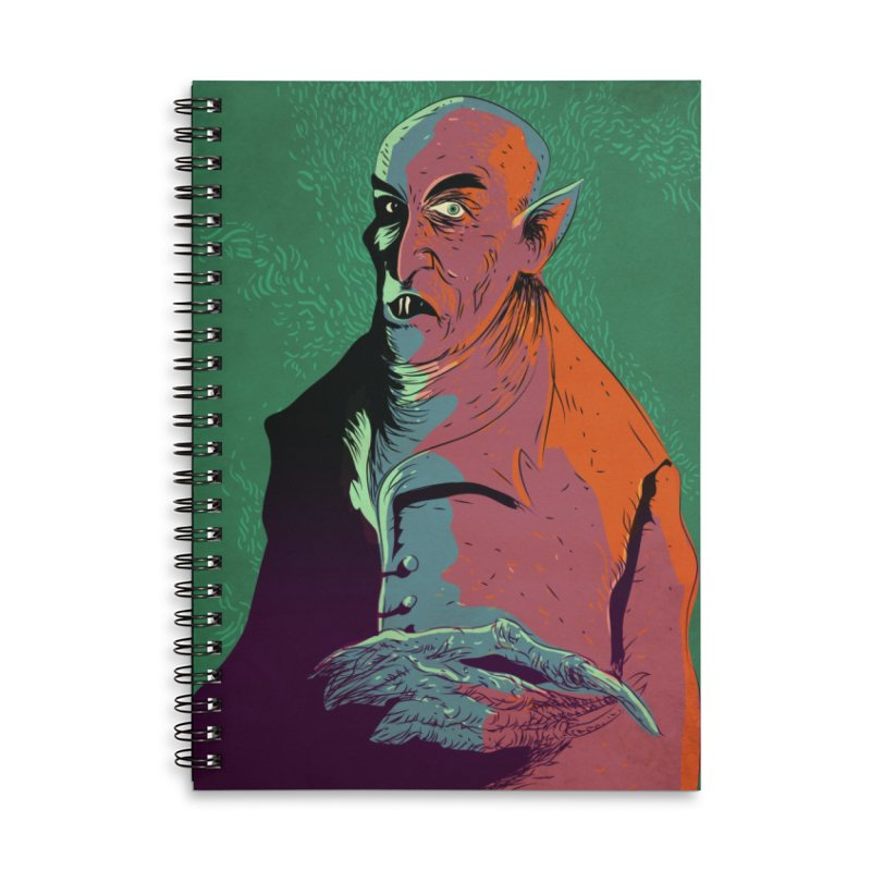 Nosferatu At Rest Accessories Lined Spiral Notebook by Zerostreet's Artist Shop