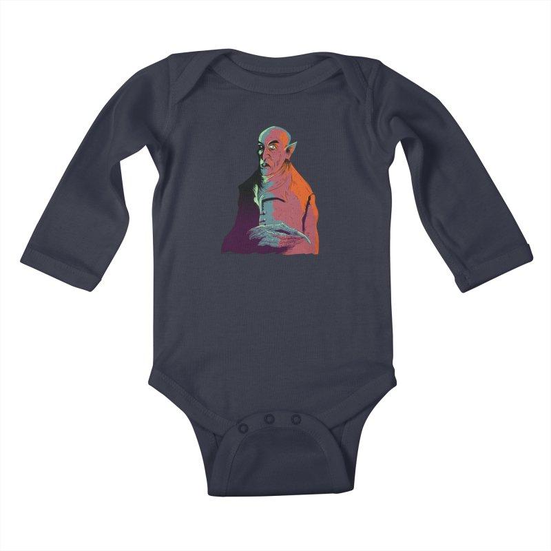 Nosferatu At Rest Kids Baby Longsleeve Bodysuit by Zerostreet's Artist Shop