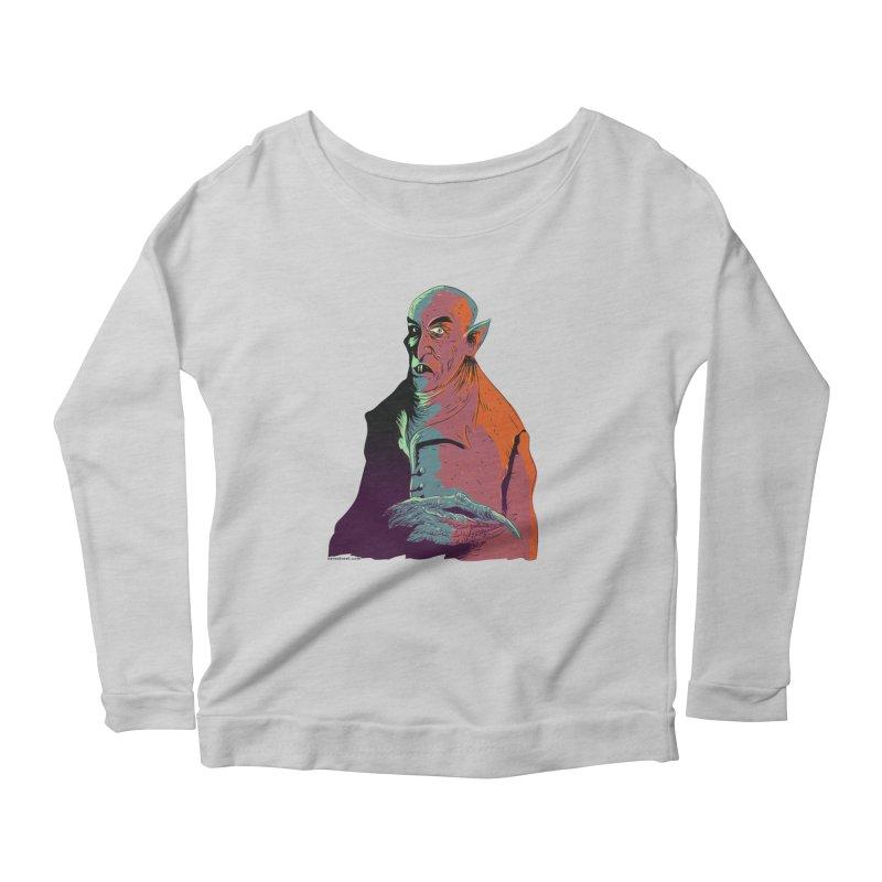 Nosferatu At Rest Women's Scoop Neck Longsleeve T-Shirt by Zero Street's Artist Shop