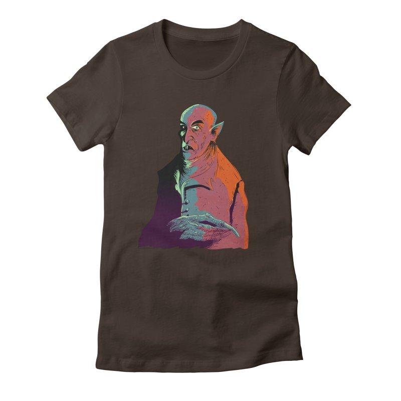 Nosferatu At Rest Women's Fitted T-Shirt by Zerostreet's Artist Shop