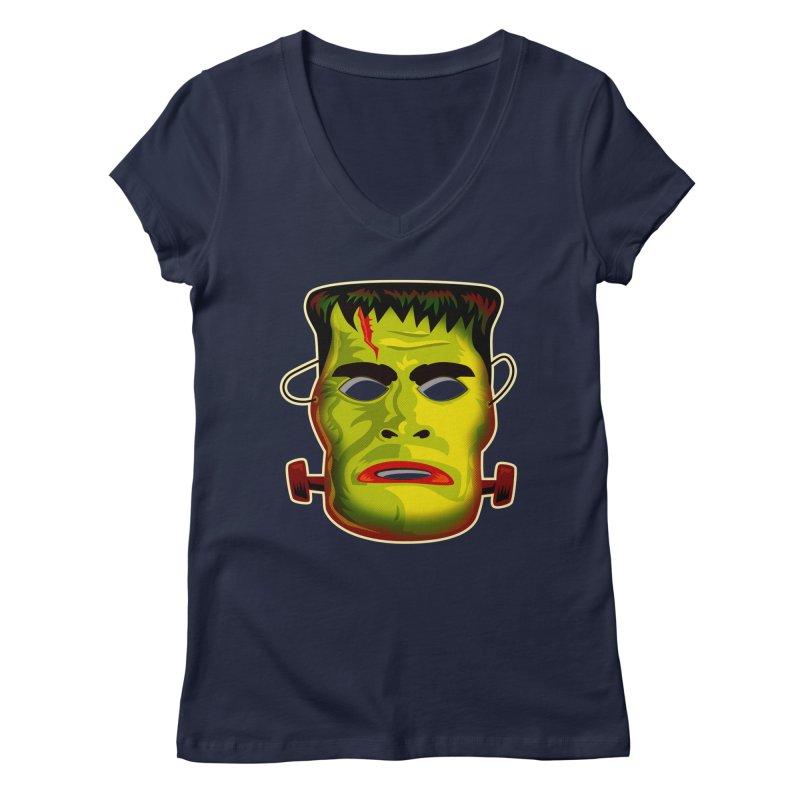Monster Mask Women's V-Neck by Zerostreet's Artist Shop