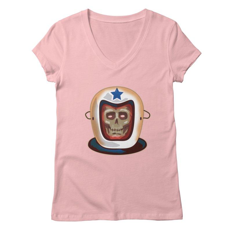 Astro Skull Women's V-Neck by Zerostreet's Artist Shop