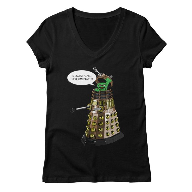 Oscar the Dalek Women's Regular V-Neck by zhephskyre's Artist Shop