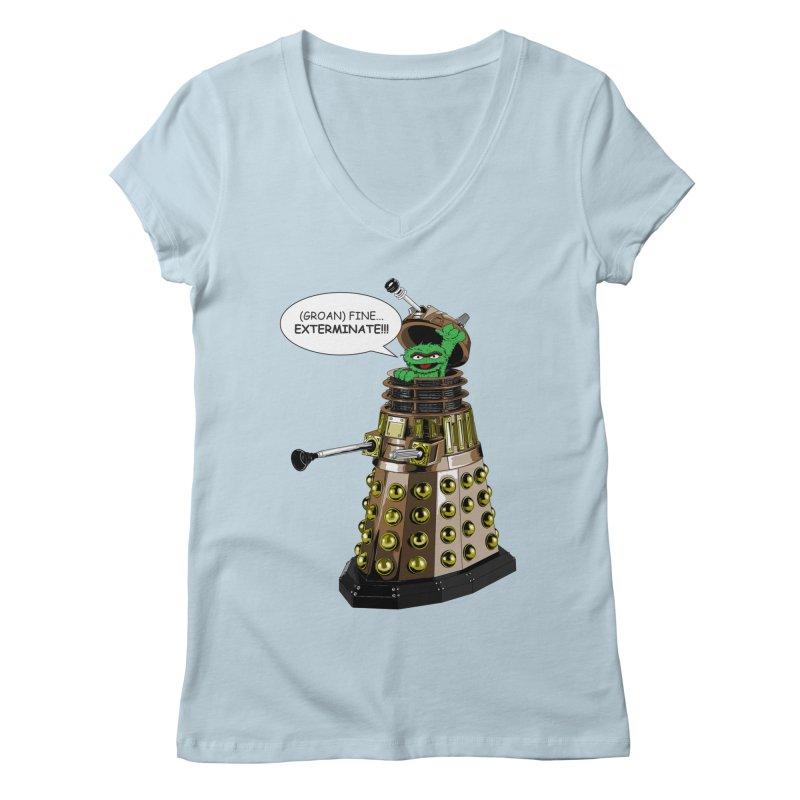 Oscar the Dalek Women's Regular V-Neck by Zheph Skyre