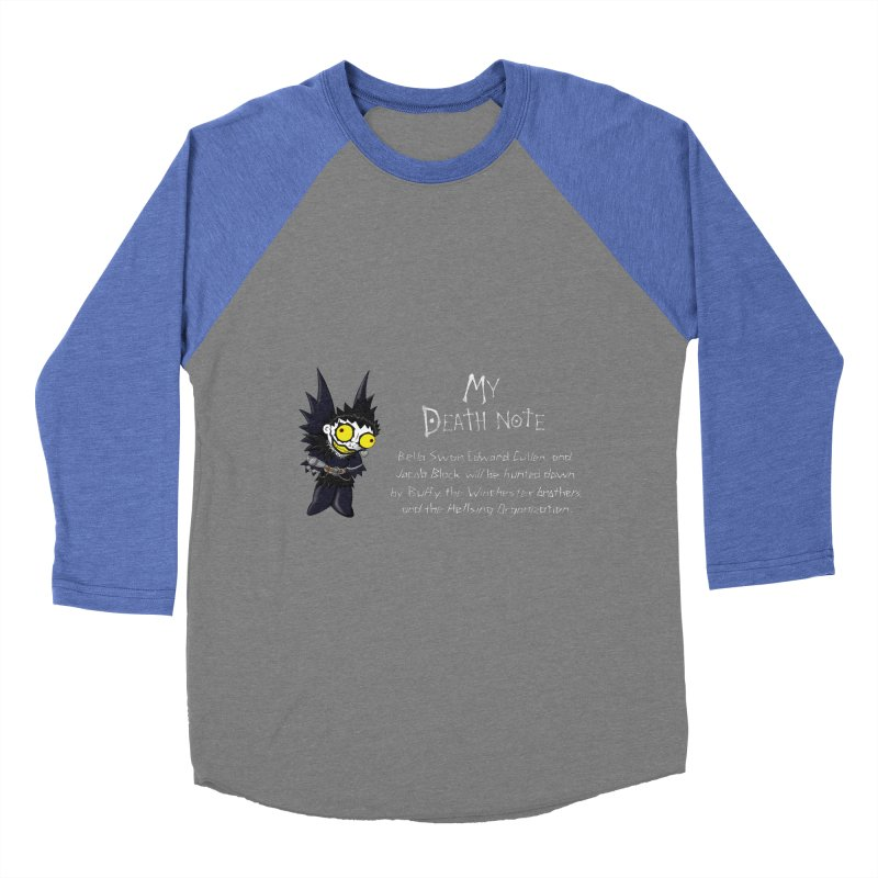 Deathnote for the Characters of Twilight Men's Baseball Triblend Longsleeve T-Shirt by zhephskyre's Artist Shop