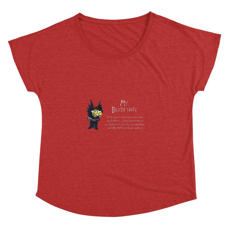 Deathnote for the Characters of Twilight Women's Dolman Scoop Neck by zhephskyre's Artist Shop