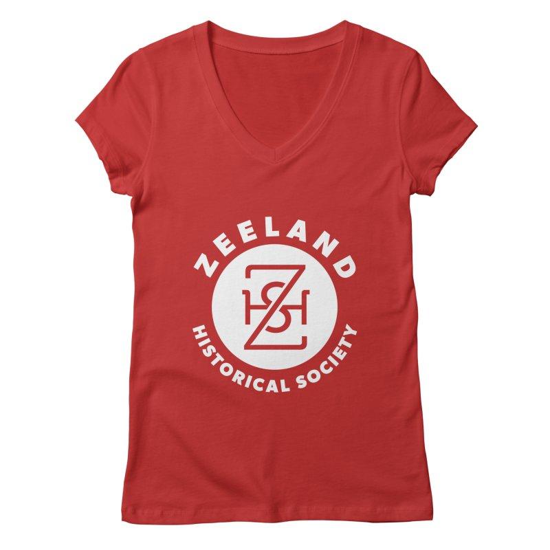 Zeeland Circle Monogram (solid) Women's Regular V-Neck by Zeeland Historical Society's Online Store