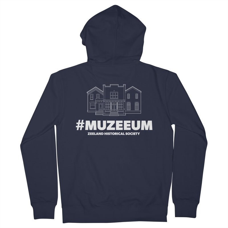 ZHS #muzeeum (reversed) Men's French Terry Zip-Up Hoody by Zeeland Historical Society's Online Store