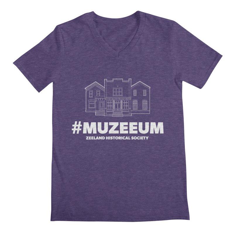 ZHS #muzeeum (reversed) Men's Regular V-Neck by Zeeland Historical Society's Online Store