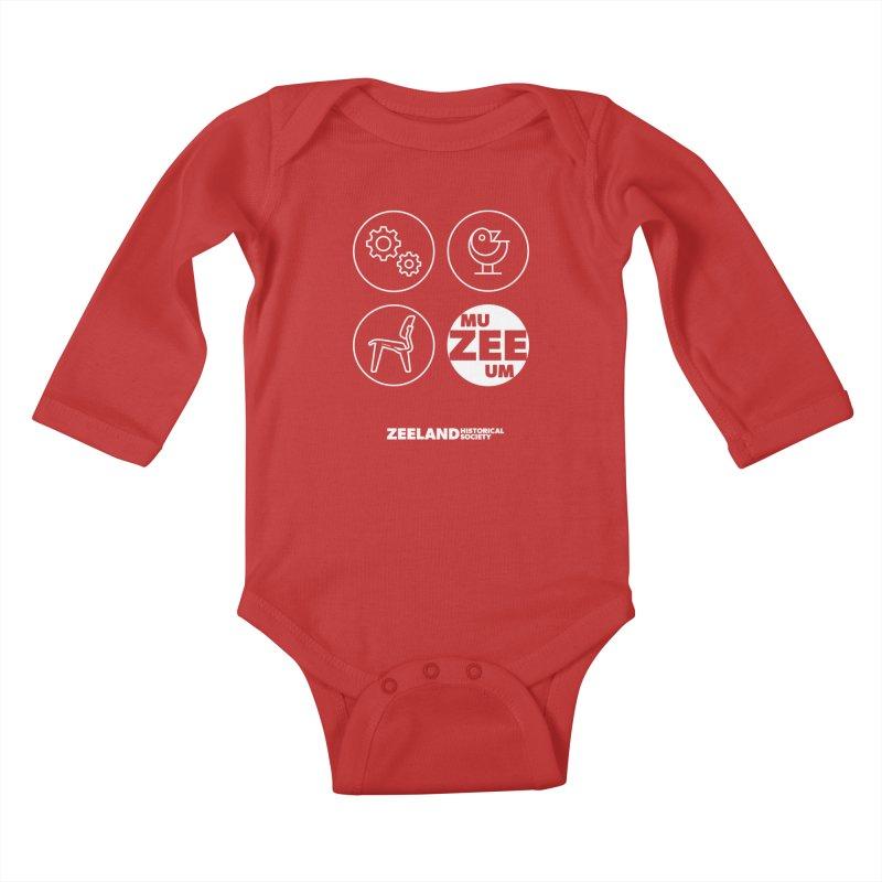 MU-ZEE-UM circles (reversed) Kids Baby Longsleeve Bodysuit by Zeeland Historical Society's Online Store