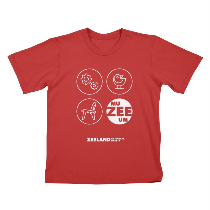 MU-ZEE-UM circles (reversed) Kids T-Shirt by Zeeland Historical Society's Online Store