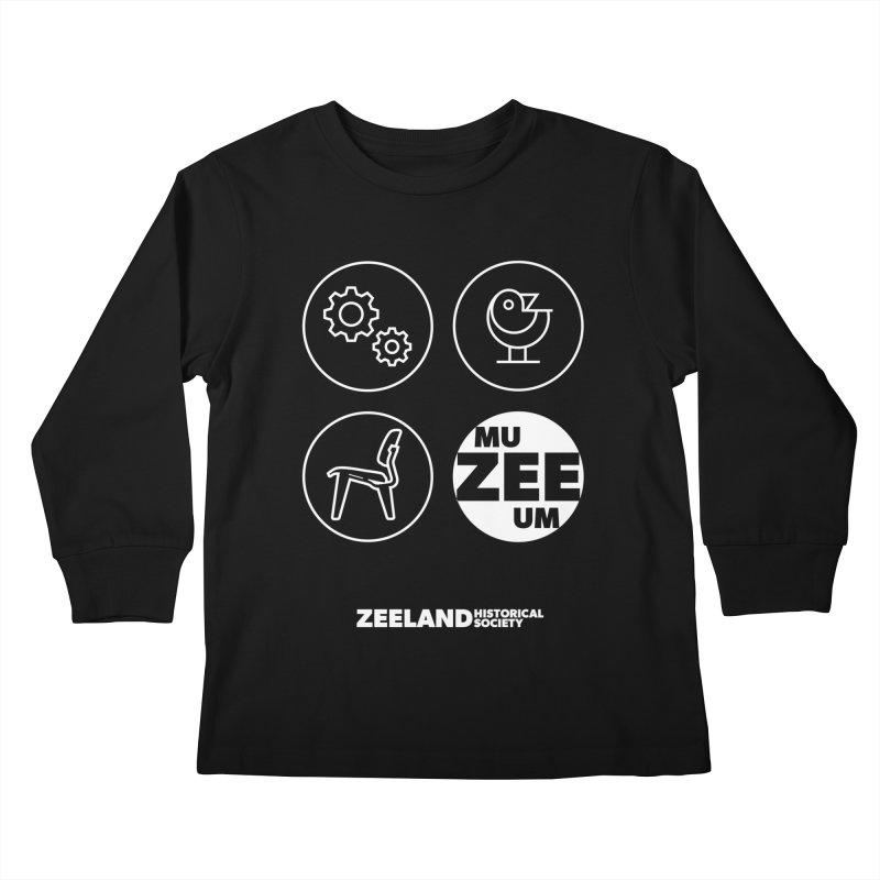 MU-ZEE-UM circles (reversed) Kids Longsleeve T-Shirt by Zeeland Historical Society's Online Store